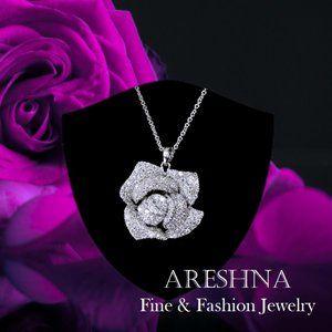 925 Rose Swarovski Crystal Luxury Pendant Necklace
